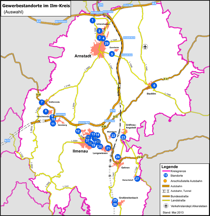 Karte der Gewerbegebiete im Ilm-Kreis
