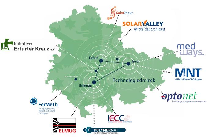 Karte der regionalen Cluster und Netzwerke in Thüringen